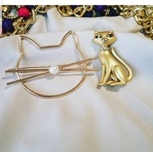 Gokd colored Cat Brooch and Barrette